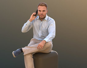 3D asset low-poly Simon 10084 - Calling Business Man