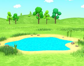 Cartoon Landscape 3D Model rigged