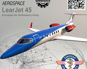 Bombardier Aerospace LearJet 45 European Air 3D model 2