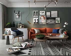 G79-Modern-living room with whole set furniture2015 3D
