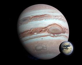 3D model Gas Giant Planet with Moon - Alien Planet 8k