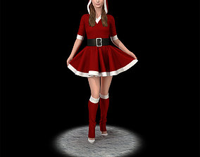 Santa girl cute santa 3D printable model