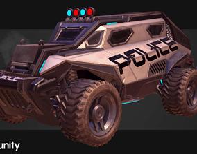 Sci-FI Armored Police Car PBR 3D model