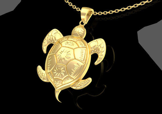 Turtle Pendant jewelry Gold 3D print model