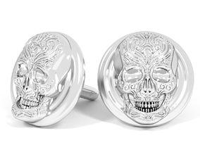 scary skull cufflinks 3D printable model