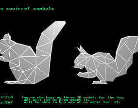 Low poly squirrel symbols 3D asset game-ready