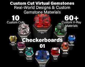 3D model Checkerboards 01 - Custom Cut Gemstones-Custom 1