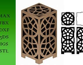 3D asset Wooden Lamp Laser Cut desk lamp lampshade 5