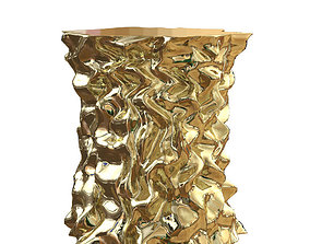 3D Stool Gold Crumpled Paper