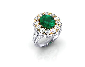 3D print model Emerald Halo Ring with Diamonds
