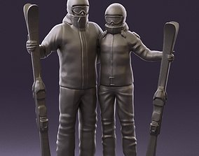 Skiers man and woman 0858 3D Print Ready figurines