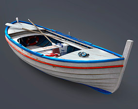 Wooden boat 3D model watercraft
