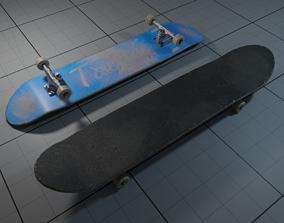 Skateboard 3D model game-ready