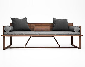 3D model Ocean bed pure solid wood sofa Chinese Ming heart