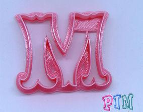 3D print model Vintage letter M cookie cutter alphabet