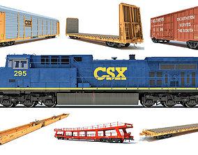 3D Freight Train Locomotive Railroad Cars
