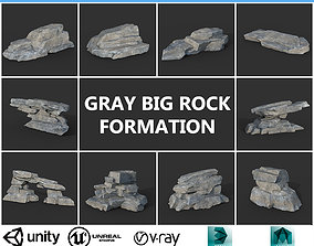 3D asset Low poly Big Rock Formation Pack 200928 - Gray
