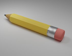 3D model game-ready Wooden Pencil