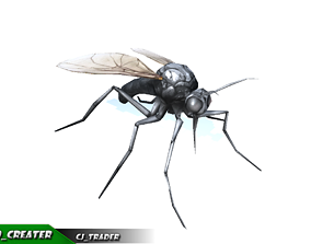 animated Low-Poly Mosquito Rigged Animated 3d model