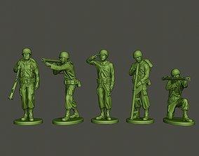 3D American soldier ww2 A4 Pack bazooka