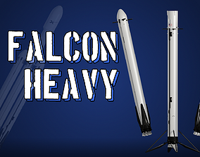 3D model game-ready SpaceX Falcon Heavy - Block 5 - Rocket
