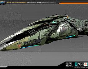 SF Alien Destroyer A5 3D asset VR / AR ready