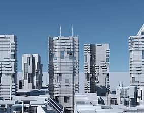 Futuristic Sci-Fi Skyscrapers 001 3D