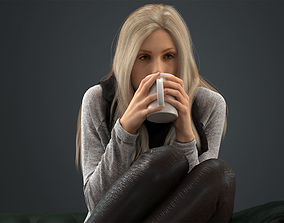 00037Esmay002 Woman With Cup Pre Posed 3D Model