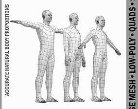 Male Body Base Mesh in 3 Poses with Detailed 3D model 2