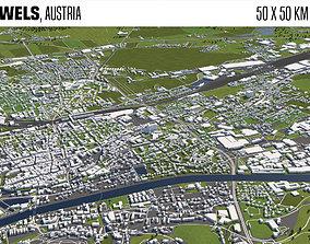 Wels Austria 50x50km 3D model