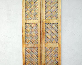 3D model Vintage Teak Lattice Screen Door