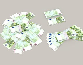 100 euro banknote packs 3D model