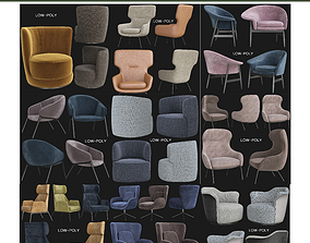 realtime Armchairs low poly 3d model collection