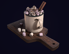 3D asset Hot Chocolate With Marshmallow - PBR Game Ready
