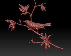 leaves 3D printable model bird on a branch