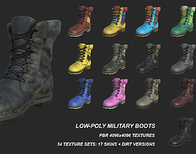 Military Boots with 17 SKINS 3D model