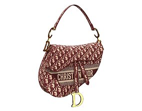 3D model Dior Saddle Bag Burgundy Oblique