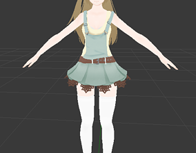3D model rigged Country girl