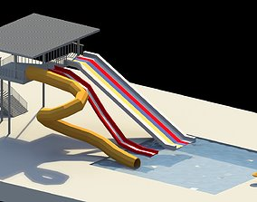 Low Poly Water Slides 3D asset