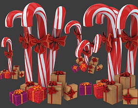 3D Christmas candy cane with gifts
