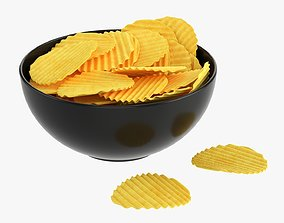Potato chips in a bowl 03 3D model
