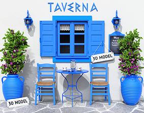 3D Greek Taverna Terrace
