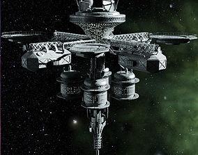 rocket 3D model space station