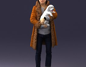 Stylish man in coat and white dog 0106 3D Print Ready