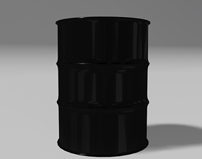 Black steel barrel 3D model