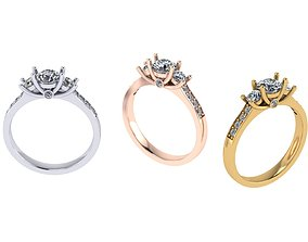 3 gems ring 3D printable model