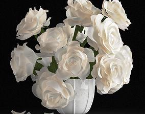 White rose bouquet 3D