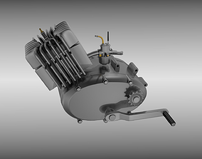 Two stroke moped engine 3D model