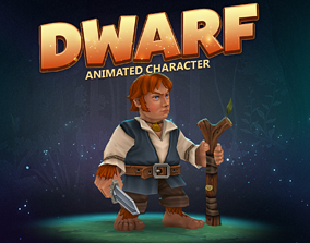Dwarf animated character 3D model