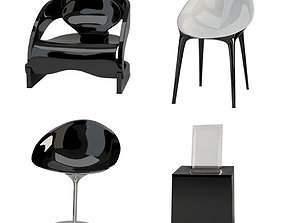 Black and white plastic chairs 3D model